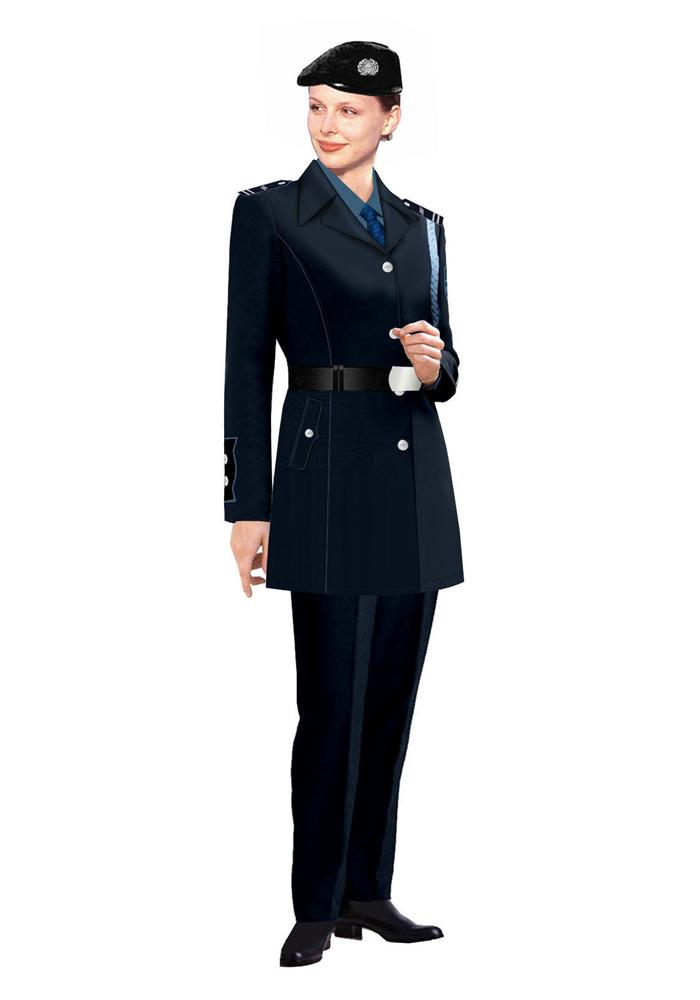 定做女式保安大衣制服图片