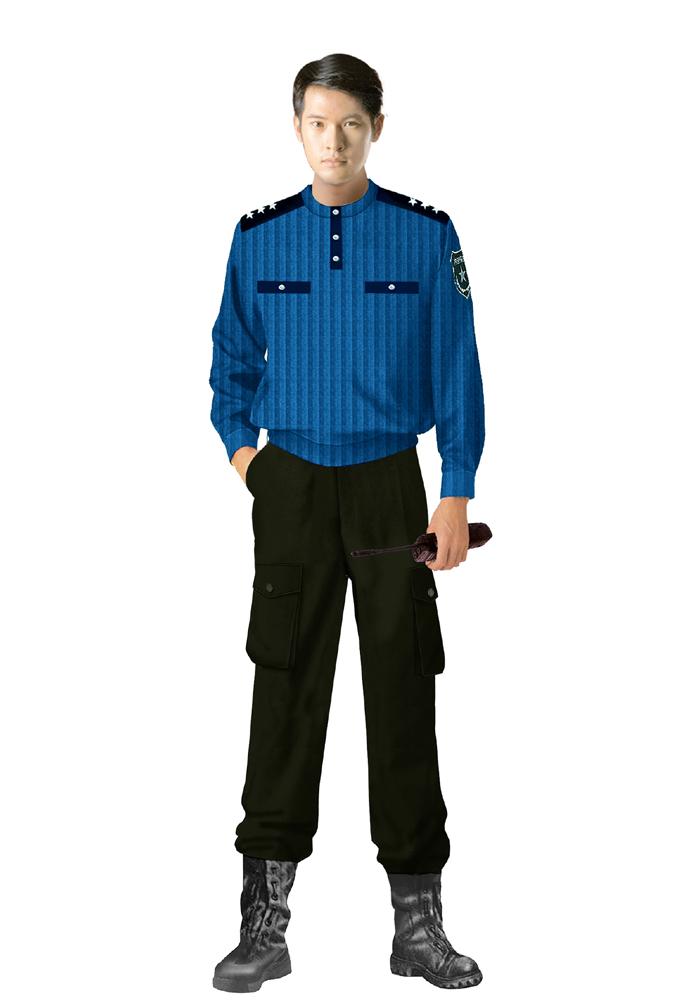 蓝色保安服
