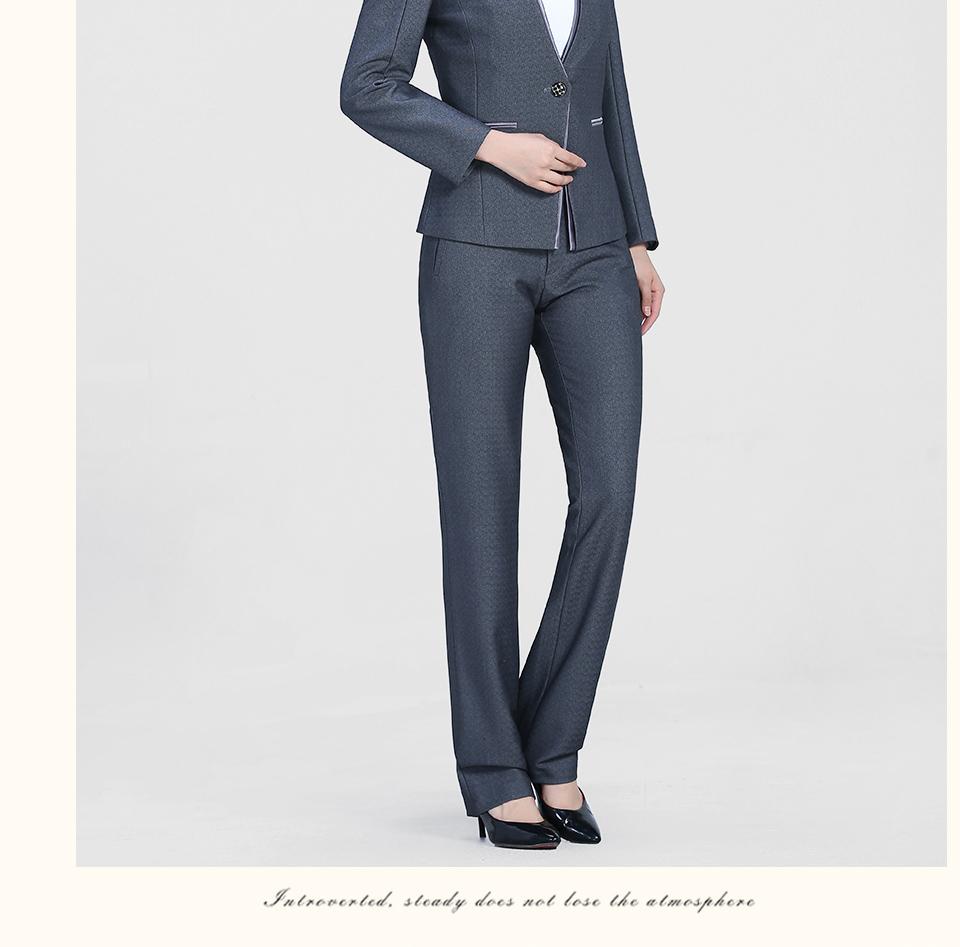 中灰色时尚一粒扣职业套装