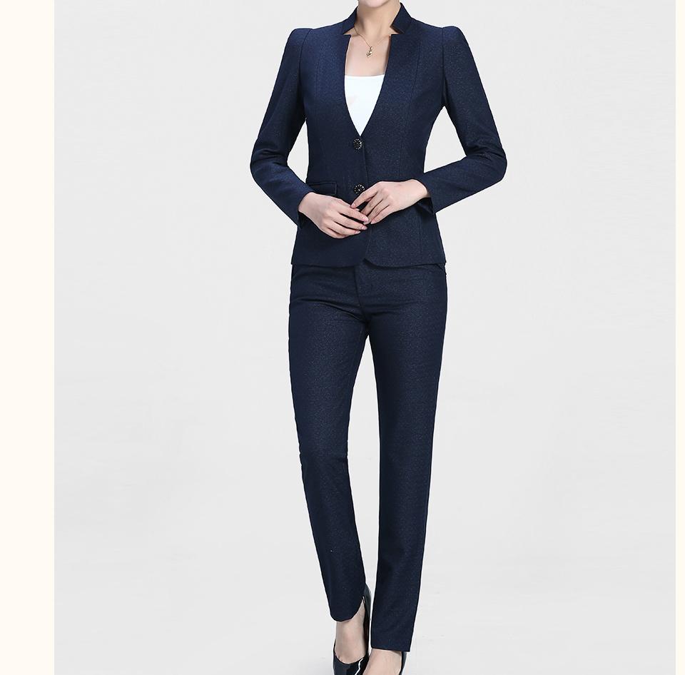 深蓝色开领两粒扣女士职业装